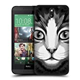 Head Case Designs Tabby Cat Big Face Illustrated Protective Snap-on Hard Back Case Cover for HTC Desire 610