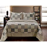 Greenland Home 3-Piece Oxford Quilt Set, Full/Queen, Multicolor