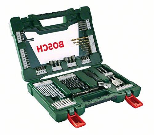 Bosch DIY 83tlg. V-Line Titanium-Bohrer- und Bit-Set mit LED-Taschenlampe und Rollgabelschlüssel