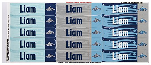 Mabel'S Labels 40845063 Peel And Stick Personalized Labels With The Name Liam And Shark Icon, 45-Count front-776020
