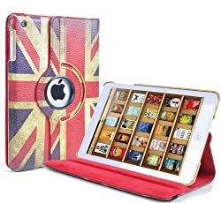Apple Retro Vintage Union Jack PU Leather Wallet Flip Case Cover for The New iPad Mini 360 Degree Rotation Full Sleep Wake Function ! Free Screen Protector