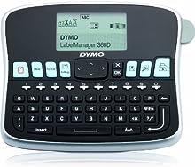 DYMO LabelManager 360D - Impresora de etiquetas (180 x 180 DPI/térmica directa/12 mm/seg/patalla LCD/9 etiquetas/197 x 150 x 71 mm/teclado QWERTY)/color negro y plateado
