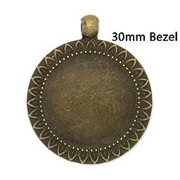 New Arrival- Antique Bronze Pendant Trays fit 30mm Round Cabochon-10pcs