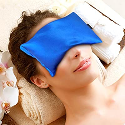 Luxury Hot / Cold Eye Mask By Karmick - Lavender Eye Pillow Relieves Headache, Insomnia and Stress - Great for Sleep, Sinus Relief and Allergies- Sleeping Mask Blocks Out Light Completely - Made in U.S.A.