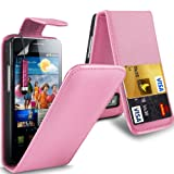 Gadget Giant Samsung Galaxy S2 i9100 Baby Pink PU Leather Flip WALLET Case Cover & LCD Screen Protector & Touch Screen Stylus - 2 Internal Card Slots