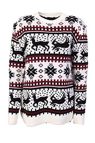 Maglione in stile natalizio, motivo: maglione lavorato a maglia, per uomo, donna e Unisex Bianco bianco