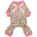 Fitwarm® Leopard Ribbon Soft Velvet Dog Pajamas for Pet Dog Clothes Comfy Pjs, Small