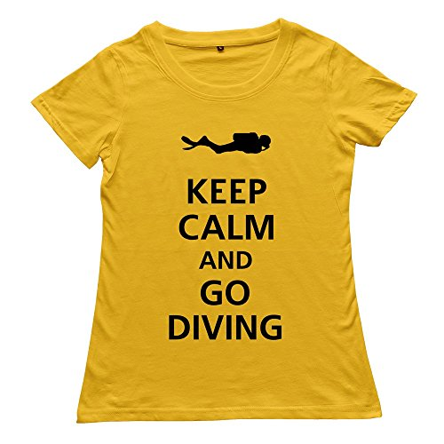 Hoxsin Yellow Women'S Keep Calm Go Diving Funny 100% Cotton T-Shirt Us Size S