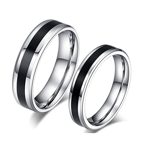 ROWAG Black 6MM Mens Titanium Stainless Steel Couple Wedding Rings for Him and Her 4MM Womens Valentines Day Promise Engagement Bands
