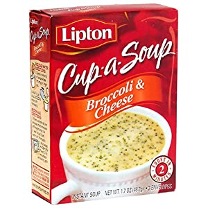 Lipton Cup-a-Soup, Broccoli & Cheese, 1.7-Ounce Boxes (Pack of 12)