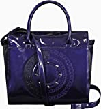 Versace Jeans Faux Patent Leather Logo Handbag Blue