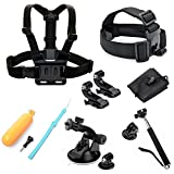 Luxebell 8-in-1 Accessories Kit for Gopro HD Hero4,Hero3+,Hero3,Hero2,Hero Camera,Chest Belt Strap Mount+ Head Belt Strap Mount+ Extendable Handle Monopod + 360 Degree Car Suction Cup Mount Holder + Floating Handle Grip + 2PCS Tripod Mount Adapter + 2PCS Surface J-Hook