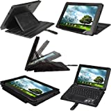 "iGadgitz Black Genuine Leather Case Cover for Asus Eee Pad Transformer Prime & Keyboard Dock TF201 10.1"" Android Tablet"