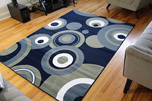 2529 Blue Pea Green White 7'10x10'6 Modern Abstract Area Rug Carpet