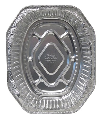 Durable Packaging 40010 Disposable Aluminum Oval Roasting Pan, Extra Large, 18-1/2
