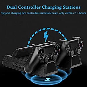 Cooling dock for PS4/ PS4 Slim/ PS4 Pro, Multifunctional Vertical Stand with Dual Controller Charger Station, 3 Cooling Fans and 12 Game Disc Storage (Black)