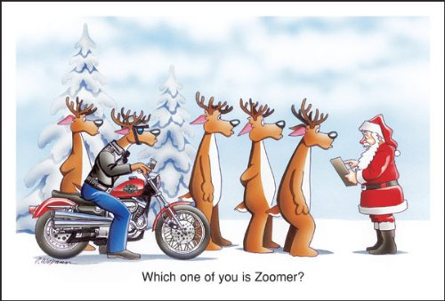 Harley Davidson Christmas Cards, Who Is Zoomer Reindeer On Harley Davidson, Pack of 10 with envelopes