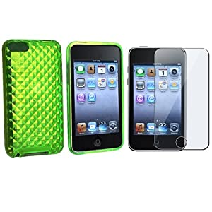 Everydaysource Green Diamond Gel Skin Cover Case Compatible With iPod®Touch 2nd Gen 2 3 3rd G +Protector