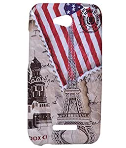 Exclusive Rubberised Back Case Cover For HTC Desire 616 - Flag With Tower