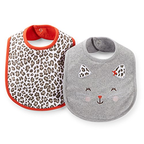 Carter's Baby Girls' 2-Pack Water Resistant Feeding Bibs (One Size, Spotted Cat) - 1