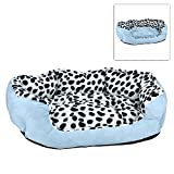 Luxurious Soft Sky Blue Dalmatian Spotted Pattern Pet Dog Bed / Lounger Sofa with Reversible Pillow
