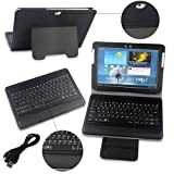 LENOGE® Bluetooth Wireless PU Leather Keyboard Case with stand for Samsung Galaxy Tab 2 10.1 (inch) P7500/P7510/P5100/P5110/P5113 Black