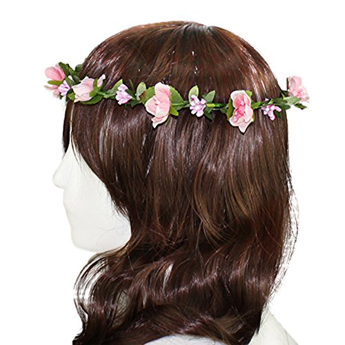 Flower Headband Garland Crown Festival Wedding Hair Wreath BOHO Floral Headband (Pink-01)