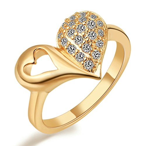 Women Wedding Rings Silver Plated Cubic Zirconia Heart Gold Rings for Engagement Size 9 by Aienid (Heart Gold Ring compare prices)