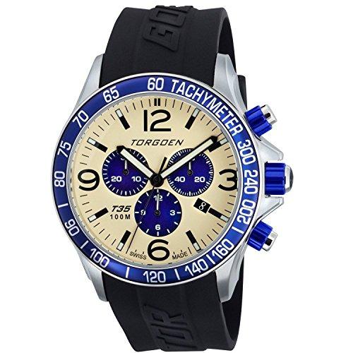 TORGOEN Swiss  T35303 - Reloj de cuarzo para hombre, con correa de plástico, color negro