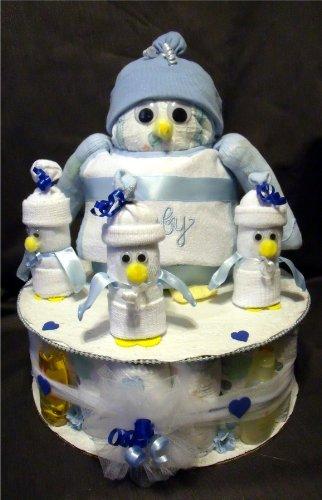 Blue Penguin Diaper Cake Baby Shower Gift Centerpiece Triplets