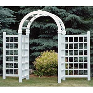 Dura-Trel Grand Colonial 8-ft. Vinyl Arch Arbor with Wings