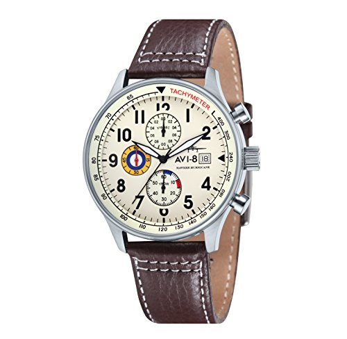 AVI-8 Hawker Hurricane Men's Quartz Watch with Beige Dial Chronograph Display and Brown Leather Strap AV-4011-04