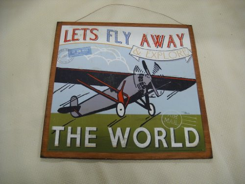 Lets Fly Away And Explore The World Airplane Wooden Wall Art Sign Boys Plane Bedroom front-6056