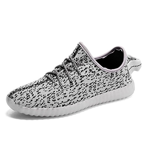 Moollyfox Unisex Led Light Up Shoes Slip-On Loafers Usb Charging Sneakers Gray 40
