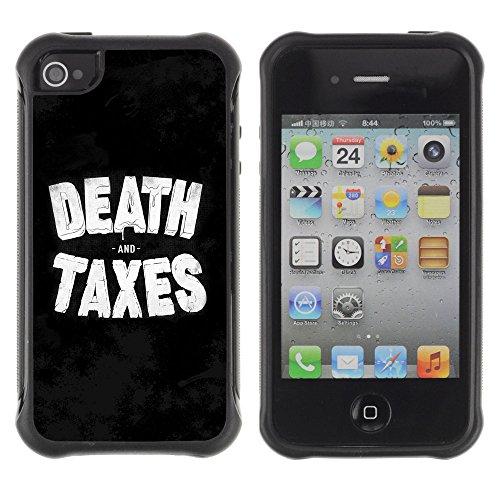 ZAKO Cases / Apple Iphone 4 / 4S / Death & Taxes / Robusto Antiurto Custodia Portafoglio Snello caso copertura Shell armatura Case Cover Slim Armor
