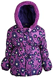 Pink Platinum Baby Girls\' 3 Bows Floral Print Puffer, Plum, 18 Months