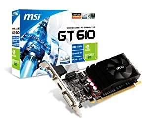 MSI NVIDIA GeForce GT 610 2GB GDDR3 VGA/DVI/HDMI Low Profile PCI-Express Video Card N610GT-MD2GD3/LP from MSI Computer Corp.