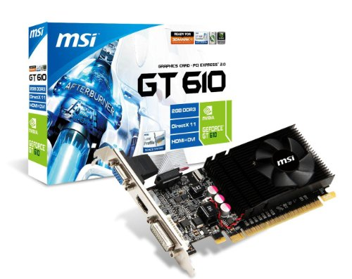 MSI NVIDIA GeForce GT 610/2 GB DDR3/Low-Profile Design/PCI Express 2.0 Graphics Card (N610GT-MD2GD3/LP)
