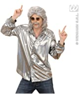 Silver Holographic Sequin Shirt for Disco 70s Fancy Dress
