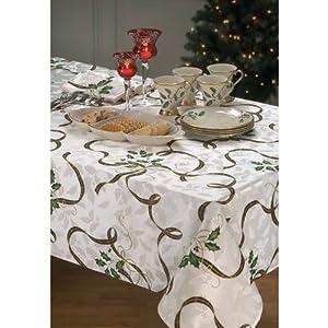 Lenox linens christmas holiday nouveau ribbon for 120 table runner christmas