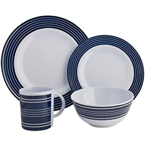 Navy Pinstripe Melamine 16 pce Dinner Set