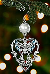 Angel in Heart Ornament -- Shiny Crystals and Pearls Combined in a Metal Filigree Ornament --