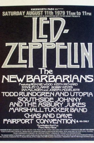 11X17 Poster Print Led Zeppelin The New Barbarians Live 1979