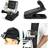360' Rotary Backpack Hat Rec-Mounts Clip Fast Clamp Mount for GoPro Hero 2 3 3+