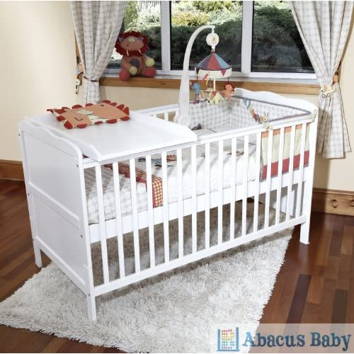 BABY WHITE COT BED & COTBED SPRUNG SAFETY MATTRESS & COT TOP CHANGER-JUNIOR BED