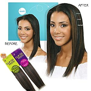 """BOBBI BOSS 100% Human Hair CLIP-ON Extensions - Instant Length & Volume - 6 Pieces Single Pack - 14"""" #1"""