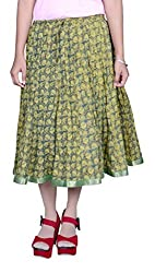 Beautiful Cotton Printed Green Skirt From the house of Pezzava