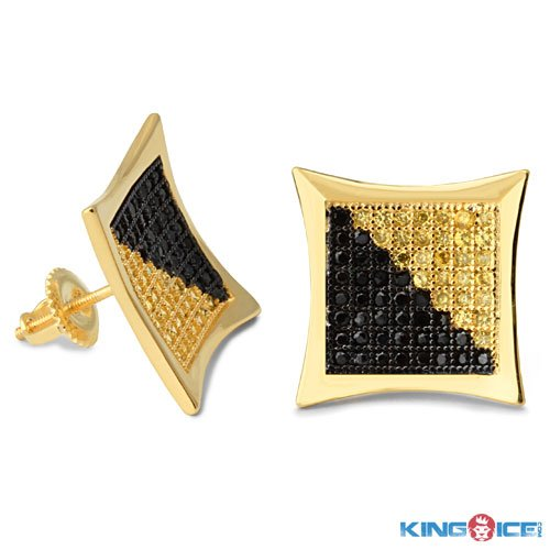King Ice Harlequin Kite Gold Plated Earrings