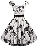Pretty Kitty Fashion 50s White Black Floral Swing Tea Dress