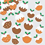Christmas Pudding Felt Stickers for Children for Decorating Festive Cards Crafts and Collage Pack of 96